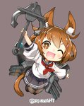 1girl anchor animal_ears black_legwear brown_eyes brown_hair cat_ears cat_tail chibi commentary_request fang hair_ornament hairclip highres holding_anchor ikazuchi_(kantai_collection) kantai_collection kemonomimi_mode naitou_ryuu neckerchief one_eye_closed open_mouth pleated_skirt red_neckwear rigging school_uniform serafuku short_hair skirt solo tail thighhighs torpedo torpedo_tubes twitter_username