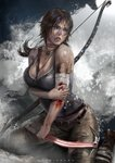 1girl artist_name bandaged_arm bandages bangs bare_shoulders belt blood blood_in_mouth bloody_bandages bow_(weapon) bra breasts brown_footwear brown_hair brown_pants cleavage collarbone commentary cuts english_commentary grey_eyes grey_tank_top holding holding_own_arm holding_weapon injury jewelry lara_croft large_breasts low_ponytail necklace pants parted_lips ponytail rock seiza sitting splashing tank_top tomb_raider tomb_raider_(reboot) underwear water waves weapon white_bra zumi_(zumidraws)