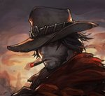 1boy ashes black_eyes black_hair chocofing_r cigar commentary cowboy cowboy_hat embers face facial_hair hat male_focus mccree_(overwatch) outdoors overwatch parted_lips shaded_face silhouette smoke smoking solo sunrise torn_clothes western