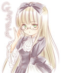 1girl adjusting_glasses amano_sakuya ascot bespectacled black_dress blonde_hair copyright_name dress glasses gosick green_eyes hair_ribbon lolita_fashion long_hair ribbon solo victorica_de_blois white_background wide_sleeves
