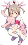 1girl apron arms_on_knees bandaged_arm bandages bangs blood bloody_clothes blush bunny_hair_ornament closed_mouth fang full_body hair_ornament hat heart light_brown_hair long_hair looking_at_viewer natori_sana nurse nurse_cap object_hug pink_apron pink_footwear pink_hat puffy_short_sleeves puffy_sleeves red_eyes sana_channel shirt shoes short_sleeves simple_background smile solo squatting stuffed_animal stuffed_bunny stuffed_toy takashiru thighhighs twitter_username two_side_up virtual_youtuber white_background white_legwear