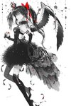 1girl akemi_homura akuma_homura apple asymmetrical_legwear backless_outfit black_dress black_gloves black_hair black_legwear black_wings bow brown_eyes crown dress elbow_gloves eyes food fruit gloves grey_legwear hair_between_eyes hair_bow highres holding holding_fruit jiinyo_(awamoe1207) long_hair looking_at_viewer mahou_shoujo_madoka_magica mahou_shoujo_madoka_magica_movie mini_crown open-back_dress ponytail red_bow shiny shiny_skin short_dress simple_background single_wing sleeveless sleeveless_dress solo thighhighs white_background wings