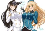 2girls animal_ears atago_(azur_lane) atago_(kantai_collection) azur_lane beret black_gloves black_hair black_legwear blonde_hair blue_headwear blush breasts brown_eyes closed_mouth commentary_request crossover eyebrows_visible_through_hair gloves green_eyes hair_between_eyes hair_ribbon hat kantai_collection kuga_zankurou large_breasts long_hair military military_uniform miniskirt multiple_girls namesake open_mouth partial_commentary ribbon skirt smile uniform white_gloves white_ribbon