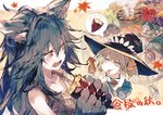 2girls animal_ears apple autumn_leaves blue_hair claws commentary_request eating fangs fenrir_(shingeki_no_bahamut) fish food fruit granblue_fantasy grapes green_apple harvin hat long_hair mimlememel multiple_girls mushroom official_art paws pear ponytail pumpkin red_eyes saury smoke squid sweatdrop sweet_potato tank_top tomato witch_hat