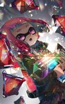 1girl backlighting bangs black_skirt blunt_bangs blush bow bowtie domino_mask dutch_angle earrings elbow_gloves gloves green_jacket gun highres holding holding_gun holding_weapon ink_tank_(splatoon) inkling jacket jewelry kashu_(hizake) long_sleeves mask multicolored multicolored_neckwear open_mouth pink_eyes pink_hair pleated_skirt pointy_ears reflective_eyes short_hair skirt solo splat_bomb_(splatoon) splatoon splatoon_2 tentacle_hair triangle upper_body weapon