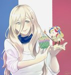 2girls alternate_costume bangs blonde_hair blue_eyes blue_hair candle commandant_teste_(kantai_collection) commentary_request cupcake fairy_(kantai_collection) flag_background food french_flag hair_between_eyes kantai_collection long_hair minigirl mole mole_under_eye mole_under_mouth multicolored_hair multiple_girls red_hair richelieu_(kantai_collection) sei_masami smile swept_bangs white_hair