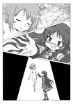 2girls boots comic fang hair_down highres kosshii_(masa2243) long_hair mahou_shoujo_madoka_magica miki_sayaka monochrome multiple_girls nude sakura_kyouko short_hair spoilers spotlight tears