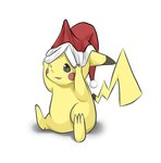 adjusting_clothes adjusting_hat brown_eyes christmas danny1128 hat no_humans one_eye_closed paws pikachu pokemon pulling santa_hat simple_background sitting solo tail white_background