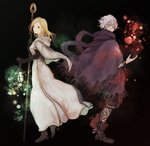 1boy 1girl apple black_background black_footwear black_gloves blonde_hair boots breasts brown_footwear capelet chizu_(fiute) cloak cuffs elbow_gloves food fruit full_body gloves lantern looking_at_viewer medium_breasts medium_hair octopath_traveler ophilia_(octopath_traveler) orange_eyes pants profile robe scarf short_hair silver_hair staff standing therion_(octopath_traveler)