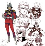 1boy artist_name capelet casval_rem_deikun char's_counterattack char_aznable clenched_teeth epaulettes gloves gundam hat helmet jacket kim_yura_(goddess_mechanic) mask mobile_suit_gundam mobile_suit_gundam_the_origin multiple_persona multiple_views necktie quattro_vageena scar signature smile sunglasses teeth twitter_username white_footwear white_gloves younger zeta_gundam