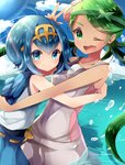 2girls ;d blue_eyes blue_hair blue_pants blue_sky dark_skin day flower green_eyes green_hair hair_flower hair_ornament hairband height_difference highres hug light_rays long_hair looking_at_viewer mao_(pokemon) multiple_girls ocean one_eye_closed open_mouth outdoors overalls pants partially_submerged pokemon pokemon_(game) pokemon_sm rushin sailor_collar short_hair sky sleeveless smile splashing suiren_(pokemon) sunbeam sunlight swimsuit swimsuit_under_clothes trial_captain twintails v wading water