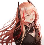 1girl bangs black_jacket blush breasts commentary_request crying fangs girls_frontline hair_between_eyes happy_tears headgear jacket long_hair m4_sopmod_ii_(girls_frontline) medium_breasts multicolored_hair open_mouth pink_hair red_hair scarf silence_girl simple_background smile solo streaked_hair tears white_background