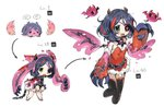 1girl bat belt black_legwear blue_hair chain chained_wrists claws commentary_request creature cropped_legs cuffs dress egg evolution eyepatch fang green_eyes handcuffs hatching hayasaka_mirei highres horns idolmaster idolmaster_cinderella_girls level_up multicolored_hair multiple_views partial_commentary pink_dress red_dress scar scar_across_eye simple_background slime spawnfoxy spiked_belt streaked_hair studded_belt thighhighs translated white_background wings zipper_pull_tab