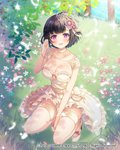 1girl 2017 :d between_legs black_hair blue_sky blush bracelet breasts bride choker cleavage clenched_hand collarbone company_name dress earrings flower full_body grass hair_flower hair_ornament hand_between_legs hand_up high_heels highres ichigo_seika jewelry konohana_sakuya_(venus_rumble) large_breasts looking_at_viewer official_art open_mouth outdoors purple_eyes sandals short_hair skindentation sky smile solo squatting thighhighs venus_rumble watermark white_choker white_dress white_footwear white_legwear