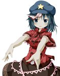 1girl blue_eyes blue_hair chinese_clothes drooling flat_cap hat looking_at_viewer miyako_yoshika ofuda outstretched_arms parted_lips rakugakiyarou ribbon short_hair short_sleeves simple_background skirt solo star touhou white_background zombie_pose