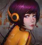 1girl artist_name blue_eyes blush bodysuit closed_mouth eyeshadow from_side guweiz headphones headset hexagon honeycomb_(pattern) honeycomb_print light_smile lips looking_at_viewer looking_to_the_side makeup orange_bodysuit purple_hair realistic short_hair solo wall