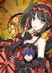 1girl :< bare_shoulders black_hair blush breasts choker cleavage clock date_a_live detached_sleeves fingers_to_mouth gothic_lolita heterochromia itsuka_shidou lace lace_choker lolita_fashion looking_at_viewer medium_breasts parted_lips red_eyes sketch sleeves_past_wrists tokisaki_kurumi twintails yamakou_(yamakou_e2)