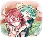 2others ahoge androgynous blush commentary_request green_eyes green_hair hair_between_eyes happy holding_hands houseki_no_kuni hug hug_from_behind long_bangs multiple_others phosphophyllite red_eyes red_hair scenery shinsha_(houseki_no_kuni) short_hair smile tearing_up tears upper_body