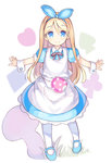 1girl alice_(wonderland) alice_in_wonderland apron bangs blonde_hair blue_dress blue_eyes blue_footwear blue_hairband blue_ribbon blush closed_mouth club_(shape) collared_dress diamond_(shape) dress eyebrows_visible_through_hair full_body hair_between_eyes hair_ribbon hairband heart kurasuke long_hair looking_at_viewer mary_janes original outstretched_arms pantyhose pocket puffy_sleeves ribbon shoes smile solo spade_(shape) spread_arms standing very_long_hair white_apron white_background white_legwear wrist_cuffs