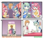 /\/\/\ 1boy 2girls 4koma :q absurdres apron arm_hug bait_and_switch blood blue_eyes cannibalism chef_hat comic commentary_request directional_arrow green_hair greenteaneko hat heart heart_tail highres holding holding_money holding_plate honkai_(series) honkai_impact_3rd horns liliya_olyenyey long_hair love_hotel money money_gesture multiple_girls pink_hair plate pointing prostitution rozaliya_olyenyey severed_tail silent_comic skirt suspension tail tailjob_gesture tank_top tongue tongue_out too_literal turn_pale