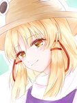 1girl blonde_hair dated gasaisanae hair_ribbon hat highres long_hair moriya_suwako portrait red_ribbon ribbon sketch smile solo straw_hat touhou yellow_eyes