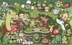 bellossom budew bulbasaur cacnea celebi cherubi chikorita cloud cottonee creature deerling exeggcute exeggutor fangs flower grass green green_eyes grin hoppip horn ivysaur jumpluff leafeon looking_at_another looking_at_viewer meganium no_humans oddish open_mouth pansage paul_robertson petilil pixel_art pokemon red_eyes seedot serperior shaymin shroomish sitting skiploom smile stacking standing sunkern swadloon torterra tree treecko turtwig weepinbell