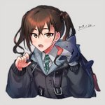 1girl :o backpack bag bangs black_jacket blush brown_eyes brown_hair dated hair_between_eyes hand_puppet hands_up idolmaster idolmaster_cinderella_girls jacket long_hair long_sleeves looking_at_viewer mole mole_under_eye necktie nishise_suname open_mouth puppet shark_puppet sharp_teeth simple_background solo sunazuka_akira teeth twintails upper_body white_background