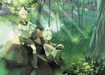 1boy 1girl bangs blonde_hair blue_eyes bow brother_and_sister bush commentary crop_top detached_sleeves expressionless forest hair_bow hair_ornament hairclip hand_on_own_knee interlocked_fingers kagamine_len kagamine_rin knee_up knees_up leaf leg_warmers looking_at_viewer nature neckerchief necktie outdoors plant rock sailor_collar school_uniform shirt short_hair short_sleeves shorts shoulder_tattoo siblings sitting smile sunlight tattoo tree twins vocaloid white_bow white_shirt wide_shot xinta yellow_neckwear