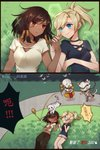 1boy 2girls atobesakunolove blood blue_eyes breasts brown_eyes cat cat_tail collarbone cyborg eye_contact eye_of_horus fetch gameplay_mechanics genji_(overwatch) grass hands highres holding humanoid_robot interlocked_fingers looking_at_another lying medium_breasts mercy_(overwatch) midriff multiple_girls navel omnic on_back open_mouth outdoors overwatch pharah_(overwatch) ponytail robot shorts side_braids smile sweatdrop tail tan translation_request yuri zenyatta_(overwatch)