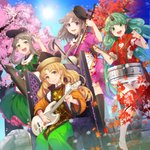 4girls animal_ears autumn_leaves bangs black_hat black_legwear blonde_hair blunt_bangs brown_hair chair cherry_blossoms closed_mouth cloud_print collared_shirt commentary_request curly_hair day detached_sleeves dress drum drumsticks electric_guitar erhu glint green_dress green_eyes green_hair green_skirt guitar hands_up hat highres holding horns instrument kneehighs komano_aun koto_(instrument) long_hair looking_at_viewer matara_okina multiple_girls music nishida_satono nonomaro open_mouth outdoors pink_dress playing_instrument puffy_short_sleeves puffy_sleeves purple_eyes red_footwear red_shirt seasons shamisen shirt shoes short_hair_with_long_locks short_sleeves shorts sidelocks sitting skirt smile snowflakes stairs standing sun tabard teireida_mai touhou very_long_hair white_shorts wide_sleeves yellow_eyes