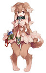 1girl animal_ears bare_shoulders blush brown_eyes brown_hair collar dog_collar dog_ears dog_tags dog_tail kenkou_cross kobold_(monster_girl_encyclopedia) long_hair looking_at_viewer monster_girl monster_girl_encyclopedia navel open_mouth pet smile solo tail