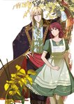 1boy 1girl apron arm_up blonde_hair blue_eyes commentary_request copyright_request dress gold_trim green_dress hand_on_hip heart167 hetero long_hair looking_at_another medium_hair official_art outdoors plant red_eyes red_hair short_sleeves standing tree white_background
