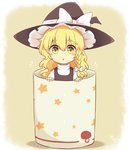 1girl :o blush blush_stickers braid commentary cup eyebrows food_print hat in_container in_cup kirisame_marisa long_hair looking_at_viewer minigirl mushroom_print riza_dxun side_braid single_braid solo star star_print touhou turtleneck wavy_hair witch_hat