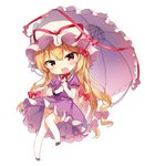 1girl blonde_hair bow breasts chibi choker commentary_request dress full_body garter_straps gloves hair_bow hat hat_ribbon head_tilt holding holding_umbrella long_hair looking_at_viewer medium_breasts mob_cap open_mouth petticoat puffy_short_sleeves puffy_sleeves purple_dress purple_eyes purple_footwear red_bow red_choker red_ribbon ribbon ribbon_choker shinoba shoes short_sleeves simple_background smile solo thighhighs thighs touhou umbrella very_long_hair white_background white_gloves white_headwear white_umbrella yakumo_yukari