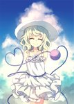 1girl ^_^ alternate_costume alternate_headwear arms_behind_back bare_arms bare_shoulders blue_sky closed_eyes closed_mouth cloud cloudy_sky commentary_request cropped_legs day dise dress eyeball eyebrows_visible_through_hair flower green_hair hat heart heart_of_string highres komeiji_koishi medium_hair rose sky sleeveless sleeveless_dress smile solo standing sun_hat sundress third_eye touhou white_dress white_flower white_headwear white_rose