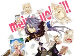 1boy 1girl alice_(tales) blue_eyes decus gloves long_hair miho_(mi) photo_(object) purple_hair short_hair smile sword tales_of_(series) tales_of_symphonia tales_of_symphonia_knight_of_ratatosk weapon white_hair yellow_eyes