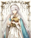 1girl anastasia_(fate/grand_order) artist_name bambi_nano bangs blue_cape blue_eyes cape dress eyes_visible_through_hair fate/grand_order fate_(series) floating_hair fur_trim hair_over_one_eye hand_in_hair highres holding_head long_dress long_hair silver_hair solo standing very_long_hair white_background white_dress yellow_hairband