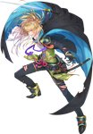 1boy armor asajima_yoshiyuki black_gloves blonde_hair blood cape earrings fighting_stance full_body gloves grin hair_ornament hairclip injury japanese_armor jewelry katana kouryuu_kagemitsu male_focus official_art pants ponytail purple_eyes smile stud_earrings sword torn_clothes torn_jacket torn_pants touken_ranbu transparent_background weapon