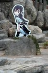 commentary grape-kun humboldt_penguin_(kemono_friends) kemono_friends outdoors photo photoshop plant rock