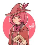 1girl artist_name bangs black_shirt bow circle collared_shirt eyebrows_visible_through_hair flower hanaan hat hat_feather hat_flower highres looking_at_viewer medium_hair original outline parted_lips pink_bow pink_flower pink_hair pink_neckwear shirt solo upper_body white_outline