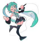 1girl ;d aqua_eyes aqua_hair black_legwear commentary crossover detached_sleeves domino_mask hair_ornament hatsune_miku highres long_hair looking_at_viewer mask microphone one_eye_closed open_mouth pointy_ears skirt sleeveless smile solo splatoon_(series) standing standing_on_one_leg tentacle_hair thighhighs twintails vocaloid zjoast