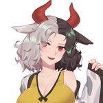 1girl :d animal_ears animal_print bare_shoulders black_hair blush breasts chinese_commentary cleavage commentary_request cow_ears cow_horns cow_print eyes_visible_through_hair forehead hand_up haori head_tilt highres horns japanese_clothes large_breasts long_sleeves looking_at_viewer multicolored_hair off_shoulder open_mouth red_eyes short_hair silver_hair simple_background sleeves_past_wrists smile solo sports_bra touhou two-tone_hair upper_body ushizaki_urumi white_background wide_sleeves xtears_kitsune