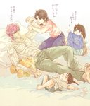 bandages bat_(hokuto_no_ken) bed blue_eyes boxers breasts brown_eyes brown_hair child closed_mouth denim hokuto_no_ken if_they_mated jeans jobo_(isi88) lynn muscle open_mouth pants pillow short_hair smile underwear