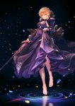 1girl absurdres artoria_pendragon_(all) barefoot black_bow black_dress blonde_hair bow breasts cleavage dark_excalibur dress fate/stay_night fate_(series) full_body hair_bow highres holding holding_sword holding_weapon kazuki_seto long_dress looking_at_viewer medium_breasts saber_alter short_hair_with_long_locks sidelocks skirt_hold sleeveless sleeveless_dress smile solo sword weapon yellow_eyes