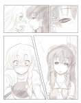 2girls ao_usagi blush comic empty_eyes greyscale hakurei_reimu kirisame_marisa monochrome multiple_girls silent_comic touhou waking_up yuri