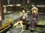 2girls architecture bad_id bad_pixiv_id bench black_hair blonde_hair building closed_eyes commentary east_asian_architecture eating hat kyoto maribel_hearn multiple_girls real_world_location short_hair sitting stone_lantern tea tokoroten_(hmmuk) touhou usami_renko yellow_eyes