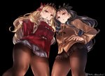 2girls black_background black_bow black_hair black_legwear blonde_hair blush bow breasts brown_jacket checkered checkered_skirt coat commentary_request ereshkigal_(fate/grand_order) eyebrows_visible_through_hair fate/grand_order fate_(series) hair_between_eyes hair_bow ishtar_(fate/grand_order) jacket juurouta large_breasts long_sleeves looking_at_viewer looking_down miniskirt multiple_girls open_mouth pantyhose red_bow red_eyes red_jacket scarf simple_background skirt striped striped_scarf take_your_pick twitter_username winter_clothes