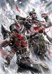 2boys arm_blade armor battle belt blood claws clenched_hands helmet highres horns kamen_rider kamen_rider_kuuga kamen_rider_kuuga_(series) looking_at_another male_focus masukudo_(hamamoto_hikaru) monster multiple_boys n-daguva-zeba punching snow weapon