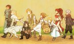 4boys 4girls alfyn_(octopath_traveler) animal apple bare_shoulders black_hair blonde_hair book boots bow_(weapon) bracelet brown_hair closed_eyes closed_mouth cyrus_(octopath_traveler) elbow_gloves everyone food fruit gloves h'aanit_(octopath_traveler) hat high_heels highres jewelry long_hair looking_at_another magnifying_glass midriff mozuku_(mozuuru0323) multiple_boys multiple_girls necklace octopath_traveler olberic_eisenberg one_knee open_book open_mouth ophilia_(octopath_traveler) ponytail primrose_azelhart profile quiver scar scarf short_hair side_slit therion_(octopath_traveler) tressa_(octopath_traveler) walking weapon