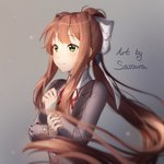 1girl artist_name blurry blurry_foreground brown_hair commentary depth_of_field doki_doki_literature_club english_commentary eyebrows_visible_through_hair green_eyes grey_background grey_jacket hair_ribbon heart heart_in_eye jacket long_hair long_sleeves monika_(doki_doki_literature_club) ponytail ribbon sasoura school_uniform sidelocks simple_background smile solo symbol_in_eye upper_body very_long_hair white_ribbon